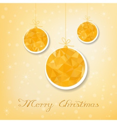 Gold christmas balls with triangle filling vector image vector image