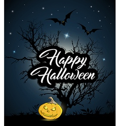 Halloween background with silhouette of tree vector