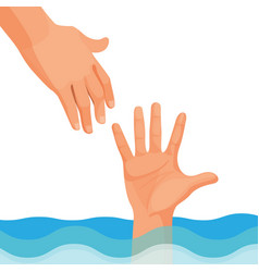 hand of person who drowns stick out of water vector image