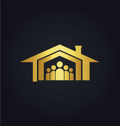 Home family icon gold logo vector