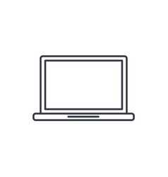 laptop computer notebook thin line icon linear vector image vector image