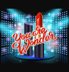 makeup red lipstick advertising vector image vector image