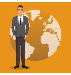 Man business work employee globe yellow background vector