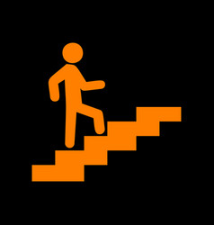Man on stairs going up orange icon on black vector
