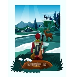 Nothern landscape nature hunting poster print vector