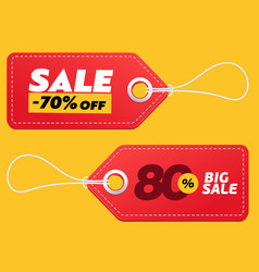 Realistic discount red tags isolated on yellow vector