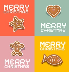 Retro christmas heart fish star and gingerbread vector