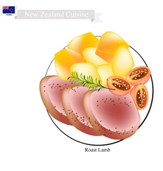 Roasted lamb the popular dish of new zealand vector