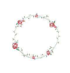 Rose round wreath vector