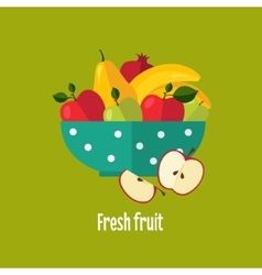 Salad from fruit and berries vector