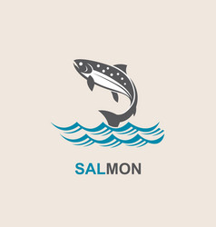 salmon fish icon vector image vector image