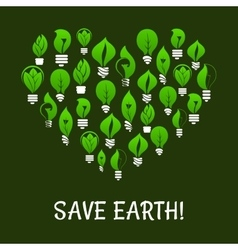 Save earth green energy elements vector