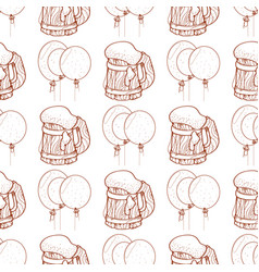Seamless pattern with balloons and a mug of foamy vector