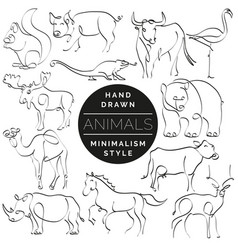 set of animals in hand drawn minimalism style vector image