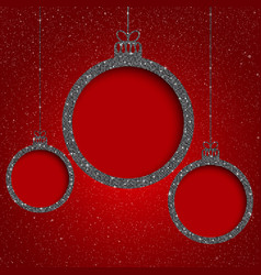 Silver sequin frame star sky christmas ball vector