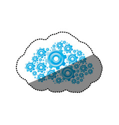 Sticker blue color pinions and gears set vector
