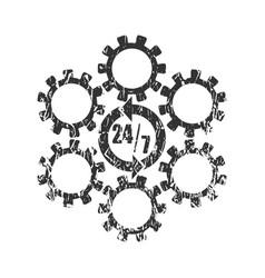 timing badge symbol 7 and 24 vector image