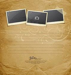 Vintage Instant photo on old paper vector image vector image