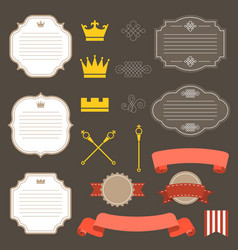 Vintage labelsribbon and decoration set 4 vector