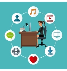 Woman working desk laptop social media icons vector