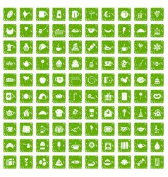 100 tea party icons set grunge green vector image vector image