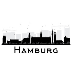 Hamburg city skyline black and white silhouette vector