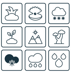 Set of 9 ecology icons includes water drops vector