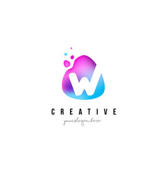 W letter dots logo design with oval shape vector