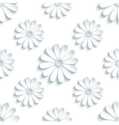 Modern seamless pattern with 3d white chamomile vector