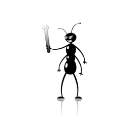 Funny cartoon ant mechanic vector