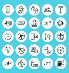 Transportation icons set collection of airport vector