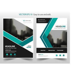 Green annual report brochure design vector
