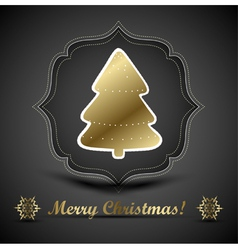 Christmas tree applique and bow background vector