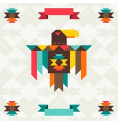 Ethnic background with eagle in navajo design vector