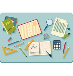 Workplace with tools top view vector