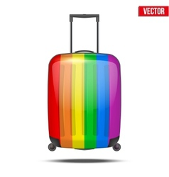 Classic rainbow plastic luggage suitcase for air vector