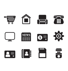 Silhouette Business and website icons vector image