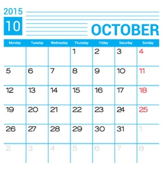 October 2015 calendar page template vector