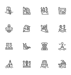 Simple line icons for ships and sea ports vector