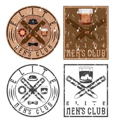 Mens club vintage grunge labels with cigars and vector