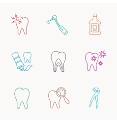 Tooth stomatology and toothache icons vector