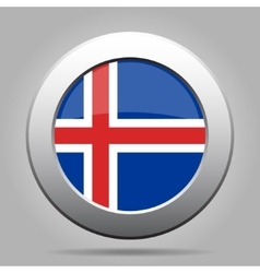 Metal button with flag of iceland vector
