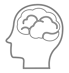 Head profile witn brain icon vector