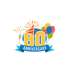 anniversary eighty years number vector image vector image