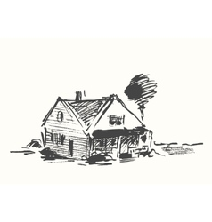Architect draft house drawn vector