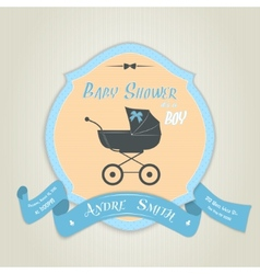 Baby shower invitation with flat baby carriage vector image vector image