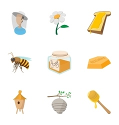 Beekeeping icons set cartoon style vector image vector image