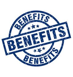 Benefits blue round grunge stamp vector