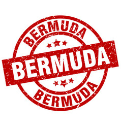 Bermuda red round grunge stamp vector