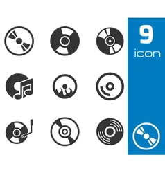 black CD disk icons set vector image vector image